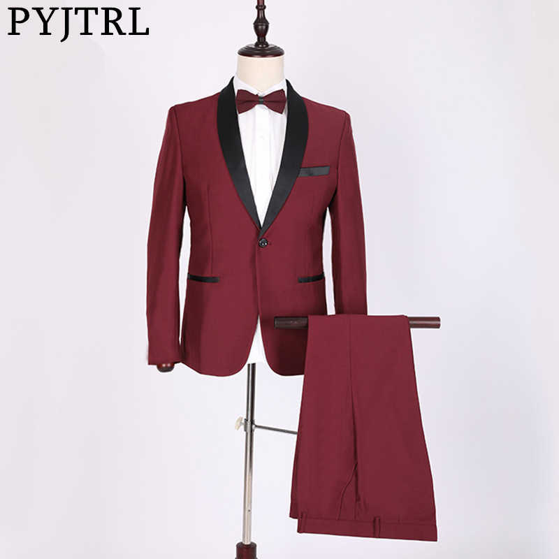PYJTRL Classic Shawl Lapel Burgundy Two-piece Set Suits Wedding Men Costume Homme Tuxedo Terno Masculino Slim Fit Body Suit