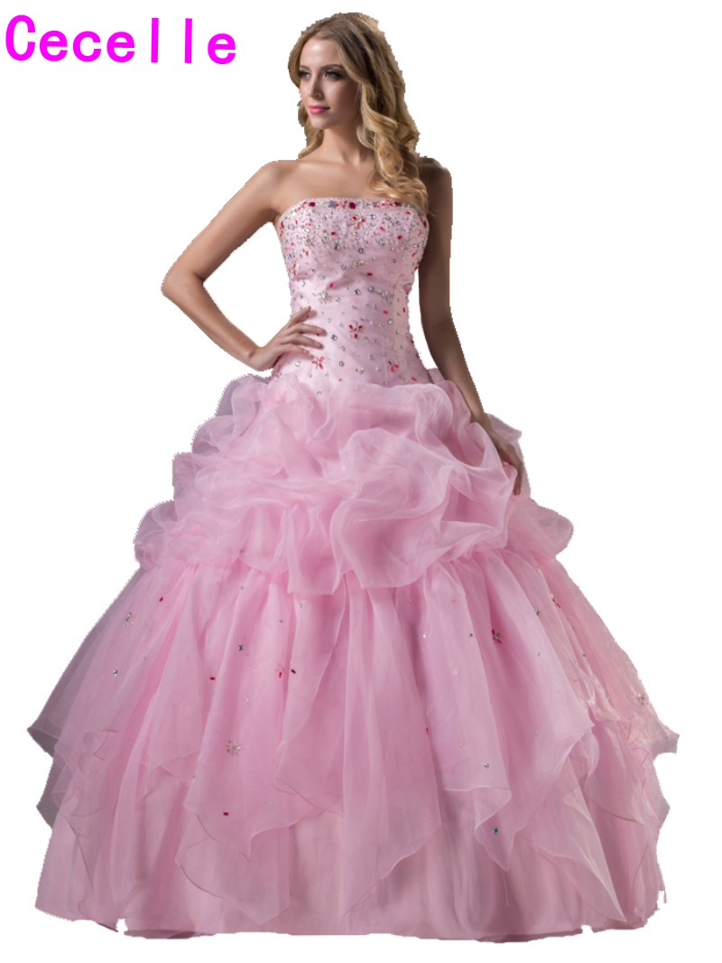 2017 Pink Ball Gown Princess Long Prom Dresses Strapless Corset ...