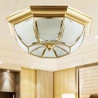 Toptan bakır tavan lambası cam gölge ile EMS ücretsiz kargo