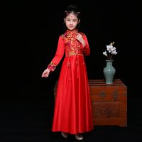Children Cheongsam Satin Red Flower Girl Princess Traditional Chinese Style Spring Dress Gold Brocade Gown New Year Dresses 2018