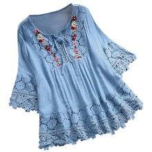 Женские топы и блузки, женские винтажные кружевные лоскутные Блузы с v-образным вырезом и бантом, блузки с рукавом три четверти, топы, рубашки, женская блузка#30-35
