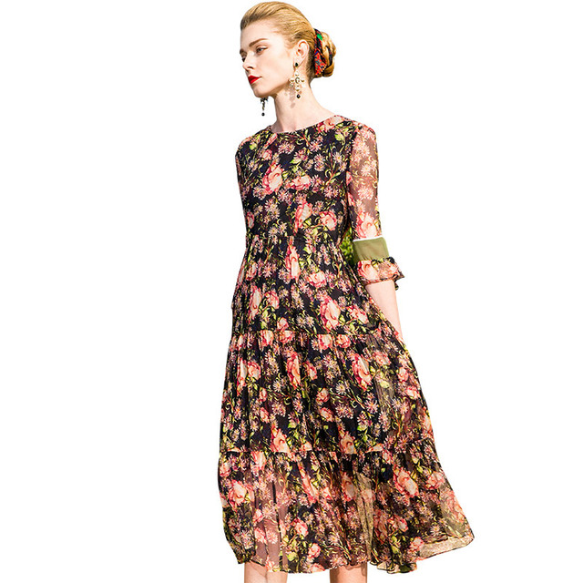 POKWAI Midi Casual Floral Women Summer Silk A-Line Dress 2018 New High  Quality Half Butterfly Sleeve Empire Ruffles Dresses