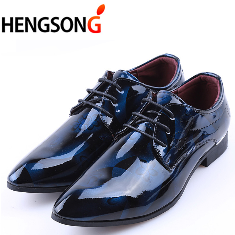 2018 Men Dress Shoes Leather Luxury breathable Fashion Groom Wedding Shoes Men Oxford business shoes Plus Size 38-48 PA919508