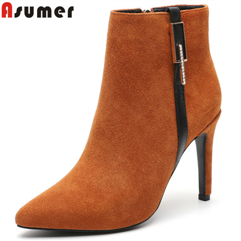 ASUMER 2018 hot sale new ankle boots pointed toe zip suede leather boots thin high heels shoes woman autumn winter boots women asumer big size fashion ankle boots women pointed toe zip suede leather boots embroider high heels shoes autumn winter boots