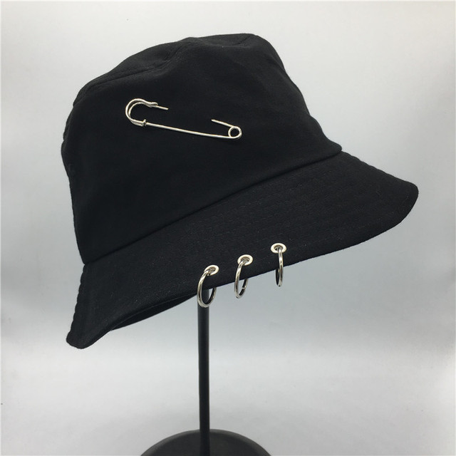 Hot selling 2017 BTS Fashion K POP Iron Ring Bucket Hats popular style cap  100% handmade rings 5dc815a0e5d4