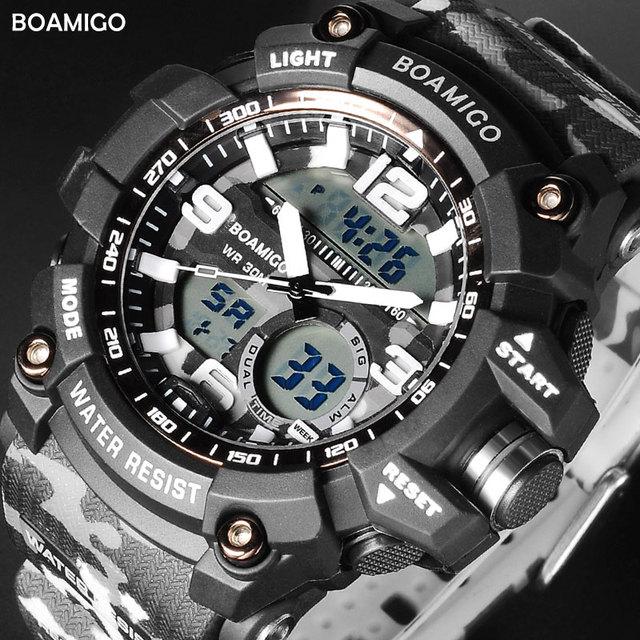 BOAMIGO Men Sport Military Army Watches Man Quartz Wristwatches LED Digital Watc