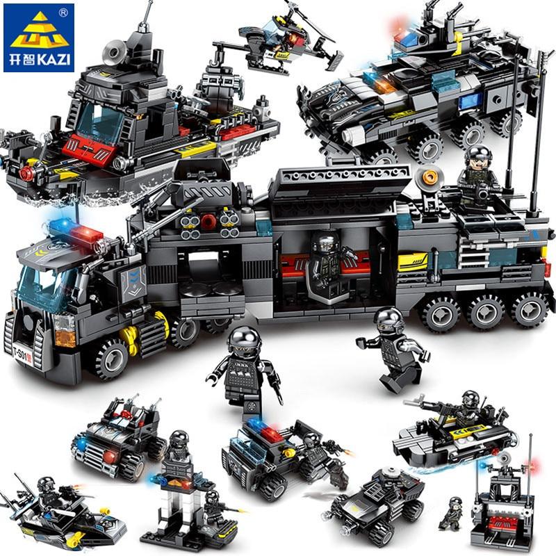 8 unids/lote ciudad policía SWAT camión modelo Compatible LegoINGs juegos de bloques de construcción barco coche helicóptero juguetes para los niños