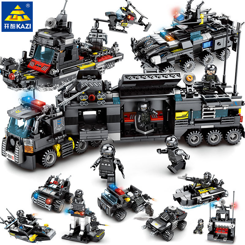 8pcs/lot City SWAT Police Truck Model Compatible LegoINGs Building Blocks Sets Ship Helicopter Car Playmobil Toys for Children 8pcs lot spongebob kids toys building blocks sets children classic block toys gift compatible with legoeinglys 231