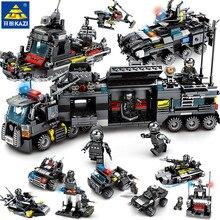 8 шт./лот город SWAT полицейский грузовик Модель Совместимость LegoINGs строительные блоки наборы корабль вертолет автомобиль Playmobil игрушки для детей