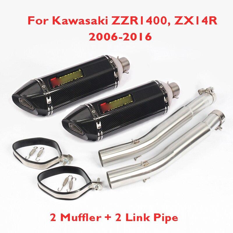 ZZR1400 Motorcylce выхлопных газов системный глушитель скольжения на Connect соединительная трубка полный весь набор для Kawasaki Ninja ZX 14R ZZR1400 2006 2016