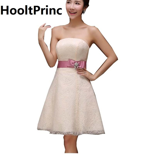 Strapless Short Bridesmaid Dresses 2017 HooltPrinc CHEAP PRICE Lady Tulle Wedding Party Dress Formal Prom Kaftan with Flower