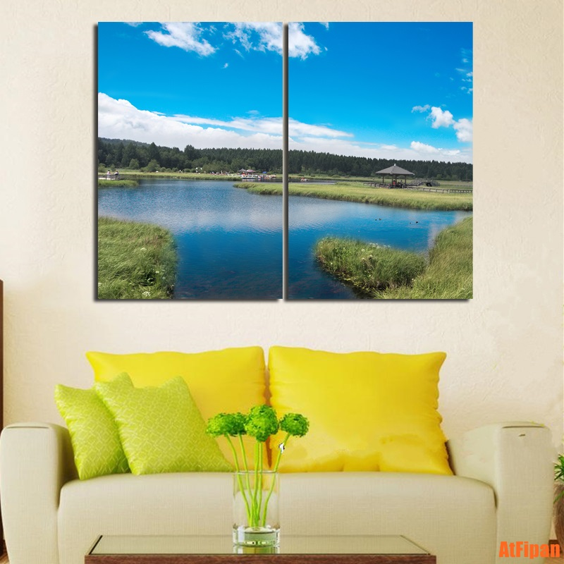Blue Sky River Natural Landscape Painting Wall Art Picture Print on ...