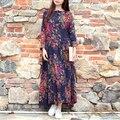 Scuwlinen 2017 primavera dress impressão tendência nacional do vintage longo-luva retro solto plus size botões de placa de algodão dress para mulheres