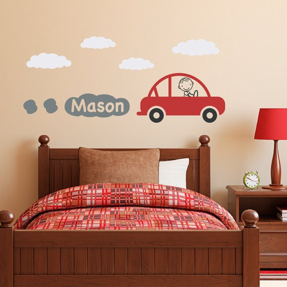 Car Decal with Personalized Boys Name Vinyl Wall Art - Children Wall Decals Baby Kids Room Wall Sticker Home Decor