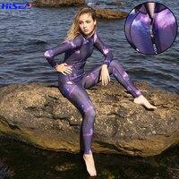 Hisea 3MM Women Diving Suit One Piece Long Sleeve Neoprene Wetsuit warm UV Jellyfish Protection Ladies Surfing Swim Sport Suit