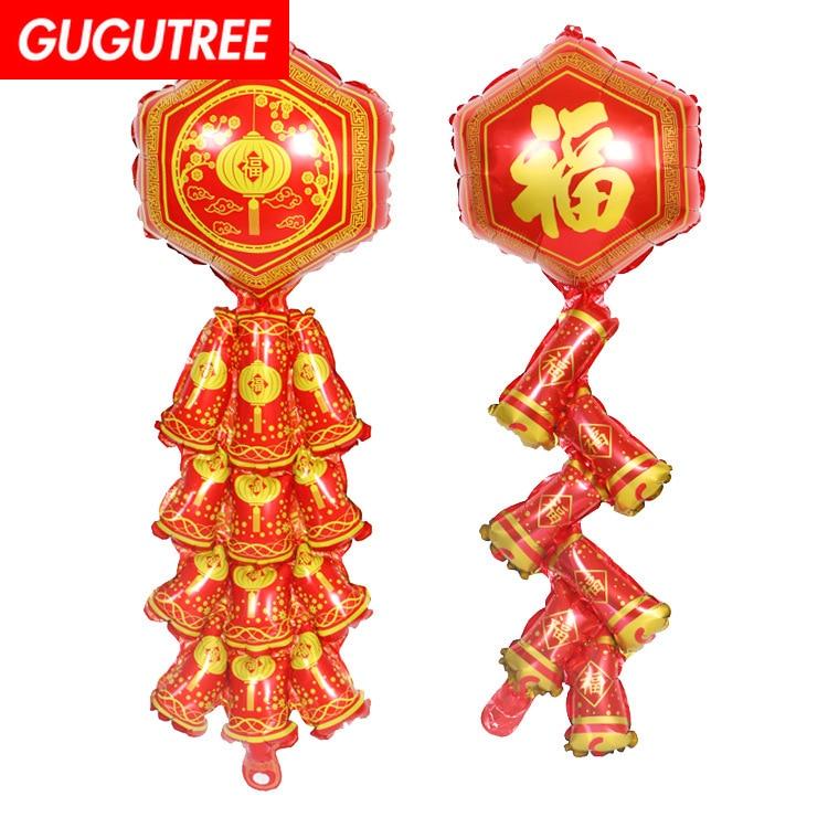 Decorar a Casa 85x30 cm fogos de artifício vermelho fu chinês balões foil casamento evento festival da festa de aniversário do dia das bruxas natal HY-86