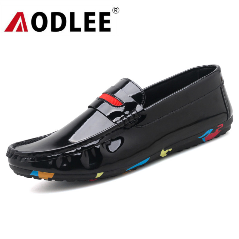 05e2503649610c rouge Marque Noir Chaussures Mocassins Italien Glissement Printemps Luxe De  Aodlee Hommes Bateau Casual Cuir Sur ...