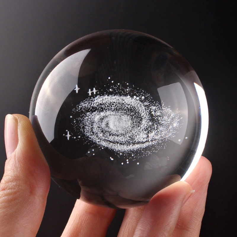 60mm 3D Galaxy Crystal Ball Starry Sky Quartz Photography Magic Glass Ball Feng Shui Crystal Craft Table Decor With Base