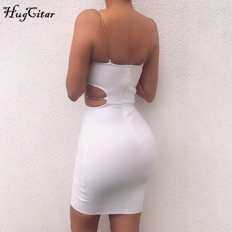 Hugcitar chains spaghetti strapes patchwork hollow out sexy bodycon mini dress 2019 summer women club party Gothic clothes