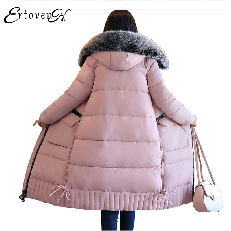 Plus size Big Fur Collar Hooded Parkas New 2017 Winter Long Section Thickening Warm Female Coat Women Slim Cotton Outerwear C52 3xl 4xl 2016 winter jacket women parkas plus size hooded long coat parkas with real fur collar thickening female warm clothes