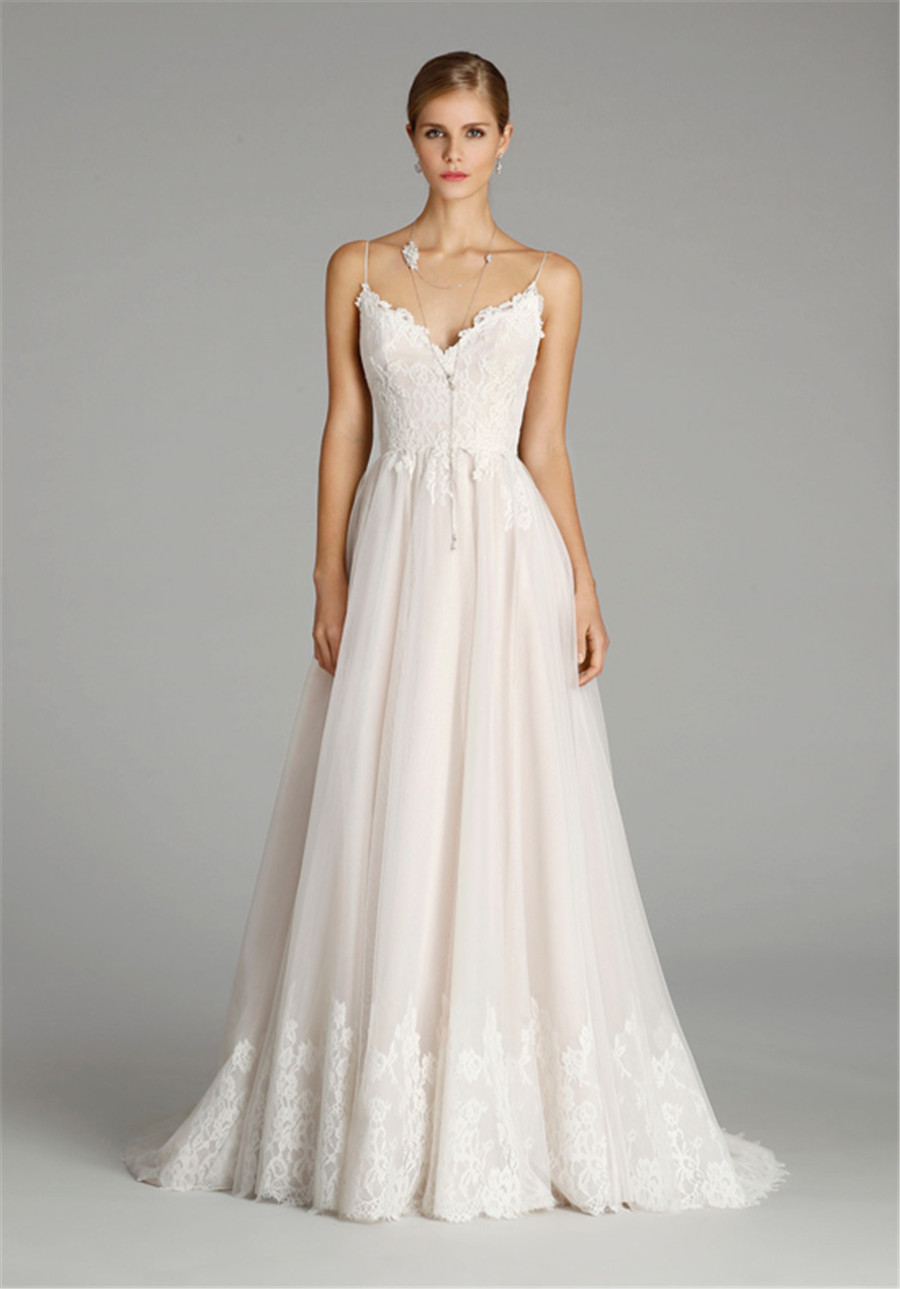 Ivory Cashmere English Net And Lace A Line Bridal Gown With