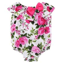 Floral baby rompers baby girls sleeveless newborn clothes botton mamelucos para bebes 100 reborn babies onesie playsuit #7E1033(China)