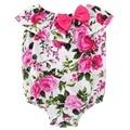 Floral mamelucos del bebé ropa de recién nacido de los bebés sin mangas botton mamelucos para bebes 100 renacer bebés onesie playsuit #7E1033