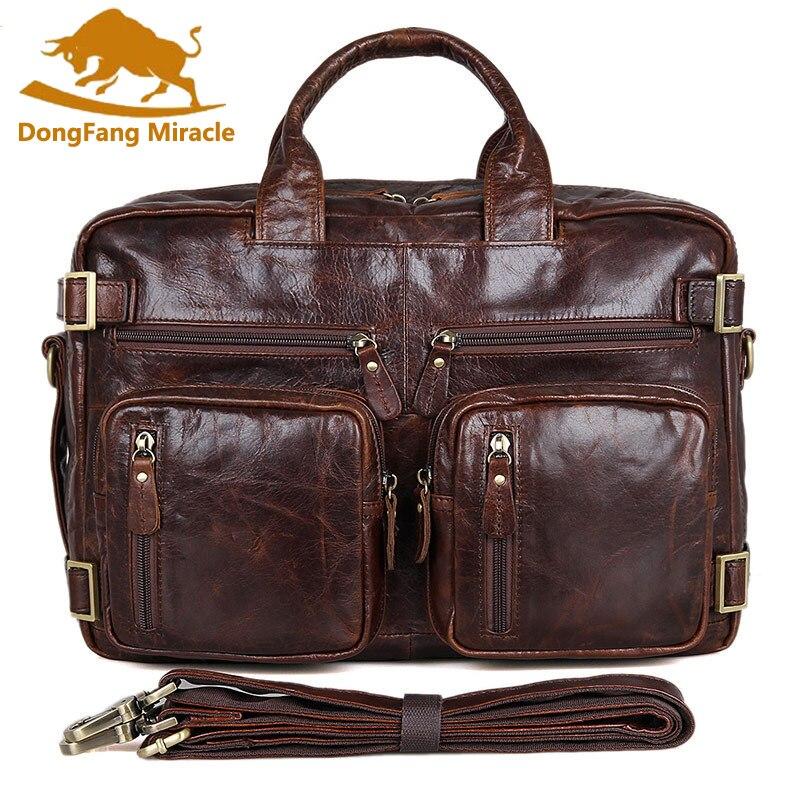 Multifunction real Genuine leather men messenger bags business men bags men s briefcase shoulder font b
