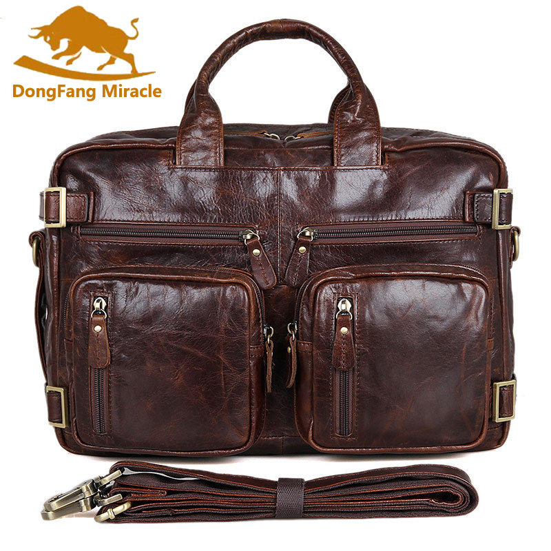 Multifunction real Genuine leather men messenger bags business men bags men's briefcase shoulder laptop men's travel bag