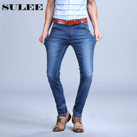 Sulee Brand 2017 Mens Plus Size Jeans Stretch Dark Blue Denim Slim Long Trouser Jean Pants