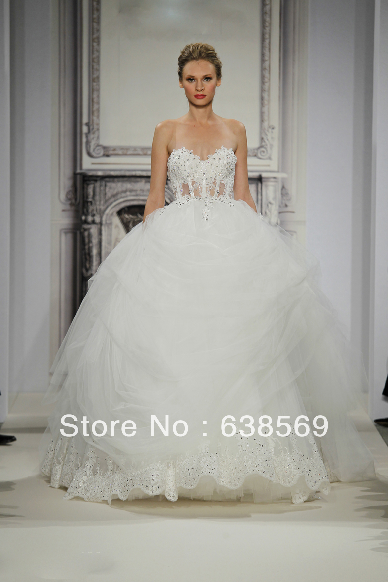 Pnina tornai 2014 bridal gowns tulle ball gown sweetheart for Pnina tornai wedding dress cost