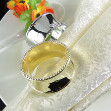 6PCS restaurant table metal gold/silver round napkin ring buckle towel