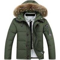 Kış Rahat Kanada Erkek kürk yaka ceket ordu yeşil dış giyim palto man ceket ropa adam kış ceket erkek Parka Mont