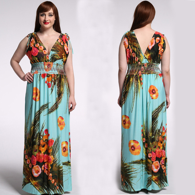 4d3cbc1b6b6 Vestidos Sexy Summer Women Beach Bohemian Dress V-Neck Red Flower Printing Maxi  Dress Plus Size 5XL 6XL 7XL Boho Long Dress