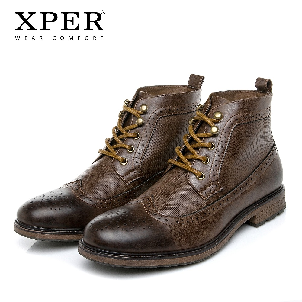 XPER Brand New Fashion Brogue Boots Men Big Size 40-48 Winter Autumn Shoes Lace-up Male Dress Shoes Handmade Business #XHY86M60 yween new men brogue dress shoes with lace up business leather shoes large size