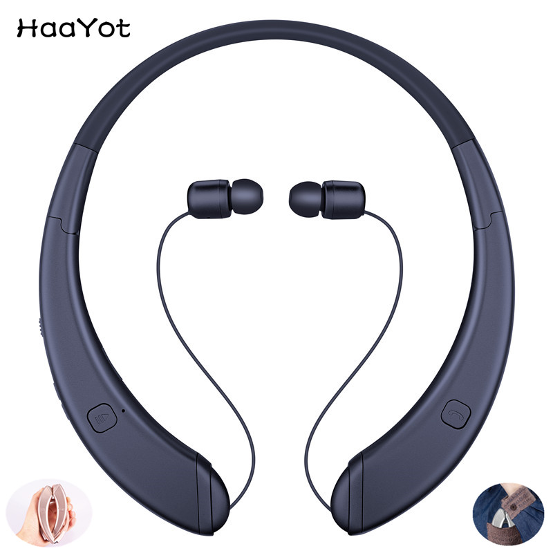HAAYOT Innovation Folding Wireless Bluetooth Headset Retractable Sport Neckband Portable Headphone Earphone For Iphone Android