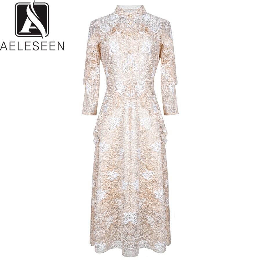 AELSEEN รันเวย์ Designer ชุดลูกไม้แฟชั่น 2019 ฤดูร้อนแขนยาว Ruffles Patchwork กลางลูกวัวลูกไม้ชุด-ใน ชุดเดรส จาก เสื้อผ้าสตรี บน   1