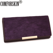 2015 New Arrival HorseHair &Cowhide Leather Women Wallets Designer Brand Famous More Colour Long Coin Clutch Wallet Card Holder
