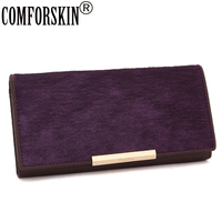 2015 New Arrival HorseHair Cowhide Leather Women Wallets Designer Brand Famous More Colour Long Coin Clutch