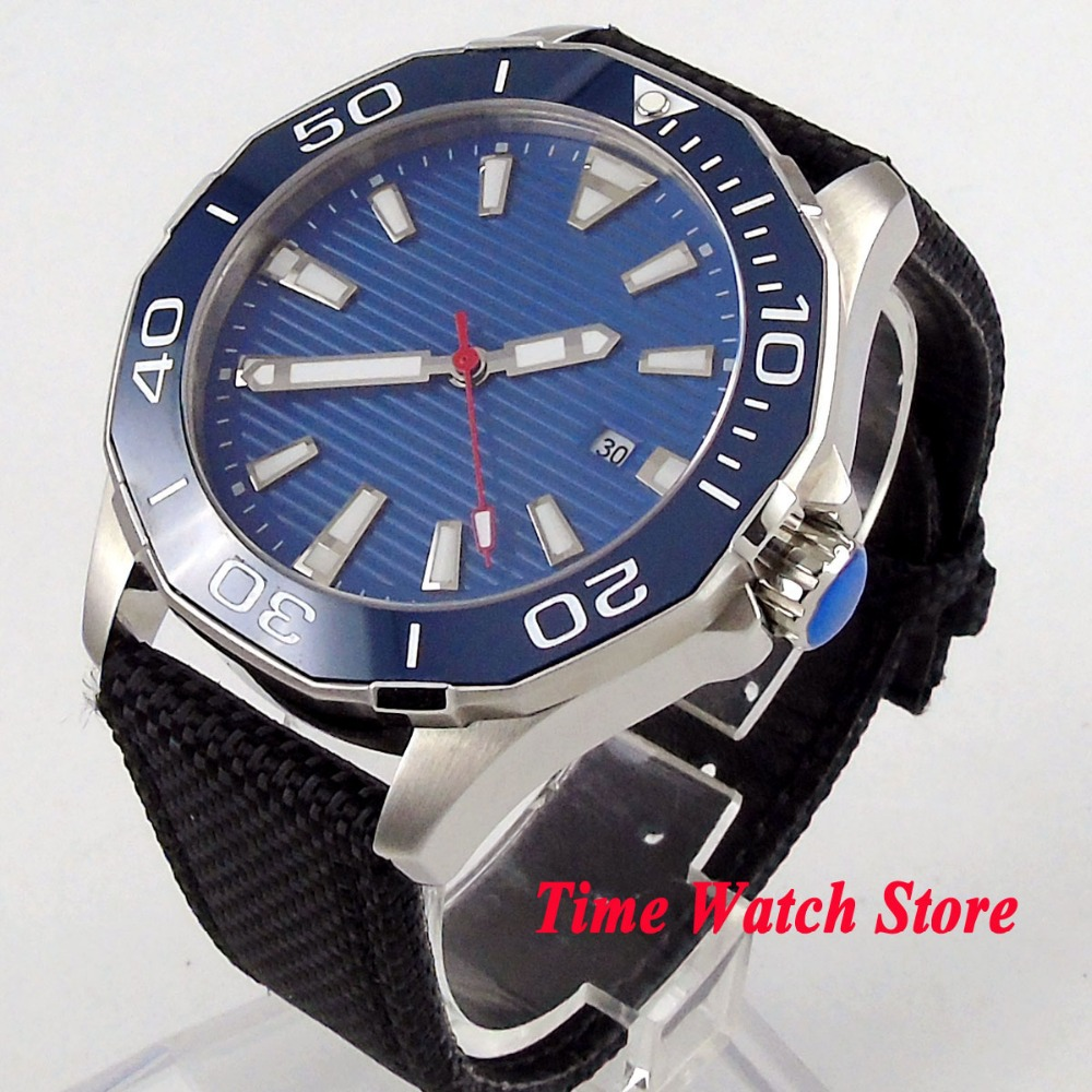Solid 45mm Polygon men's watch blue dial sapphire glass luminous ceramic bezel 5ATM MIYOTA Automatic movement wrist watch PL3 цена