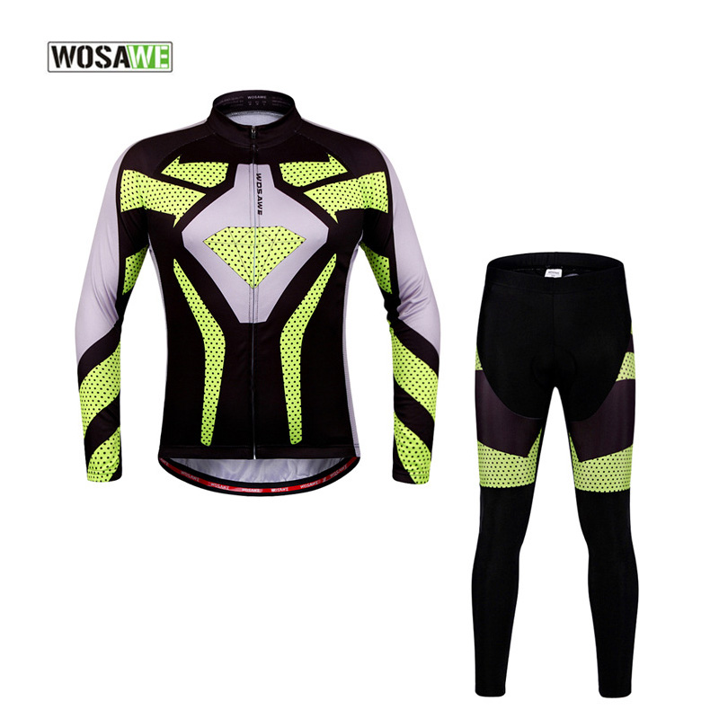 WOSAWE Cycling Jersey Long Sleeves Sets Bike Wear Breathable Bicycle Clothing Riding Outdoor Sports 4D Gel Padded wosawe men long sleeve cycling jersey 4d gel padded tights