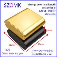 Szomk алюминиевая коробка проект электроника (10 шт.) 70*70*24 мм электроники проекта в случае корпус прибора корпус блока управления