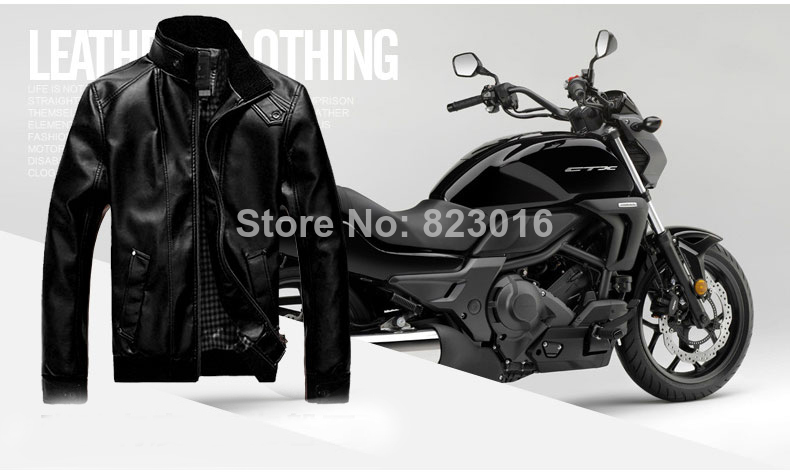 2015 Plus size PU Outdoor Winter Jacket Men Coat Parka Casual Velvet Mens Jackets Coats Motorcycle - Wild Rose Trading Co,Ltd store