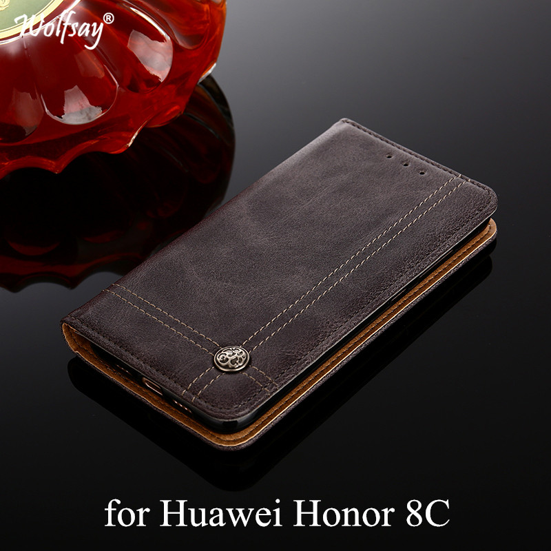 Wolfsay For Huawei Honor 8C Case Cross Pattern Flip Cover PU leather & Soft TPU Inside Cases for Huawei Honor 8C 8 C BKK-L21