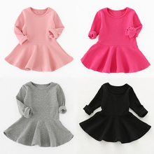 2019 Spring Autumn Baby Girl Dress 7 Colour Dresses Cotton Long Sleeve Newborn 1st Baptism For 9M-3T