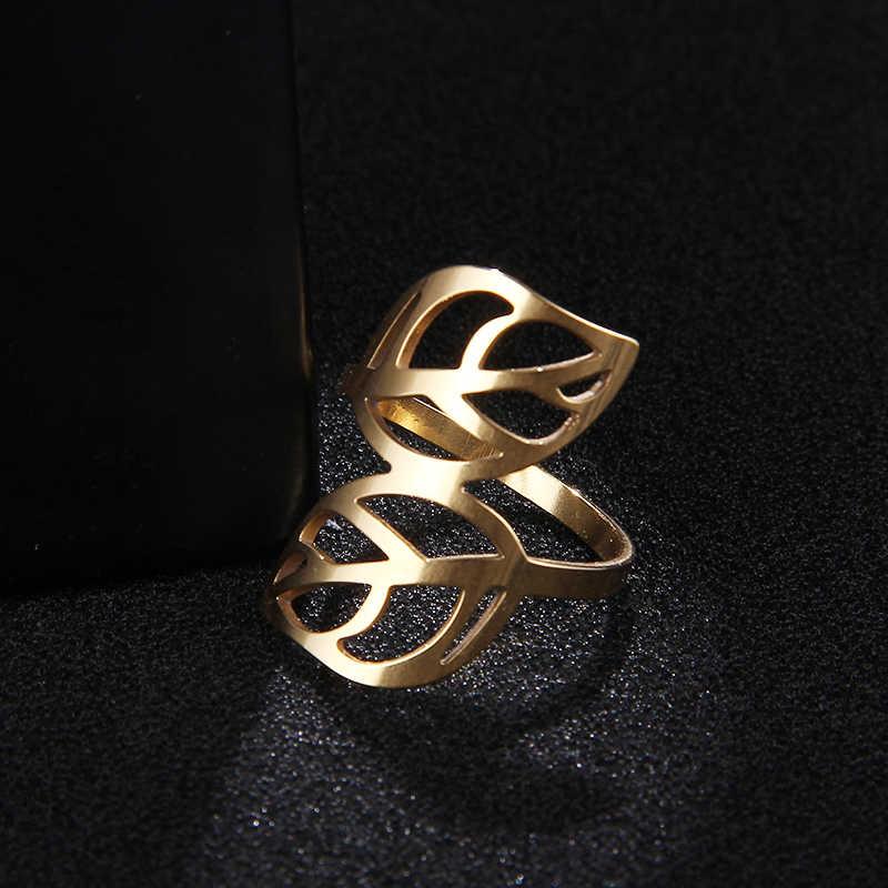 CACANA สแตนเลสแหวนคู่ Leaf แฟชั่นเครื่องประดับขายส่ง NO.R143