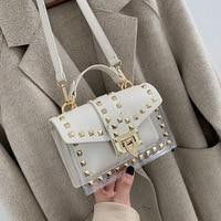 Rivet Transparent Clear Shoulder Messenger Bags Women PVC Purse and Handbags Sac A Main