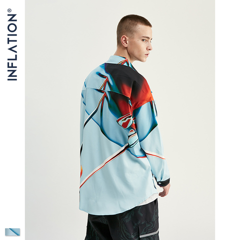 INFLATION Streetwear Men Shirt Long Sleeve Streetwear Shirts Loose Shirts 2019 Autumn New Digital Printing Men Shirts 92150W Islamabad