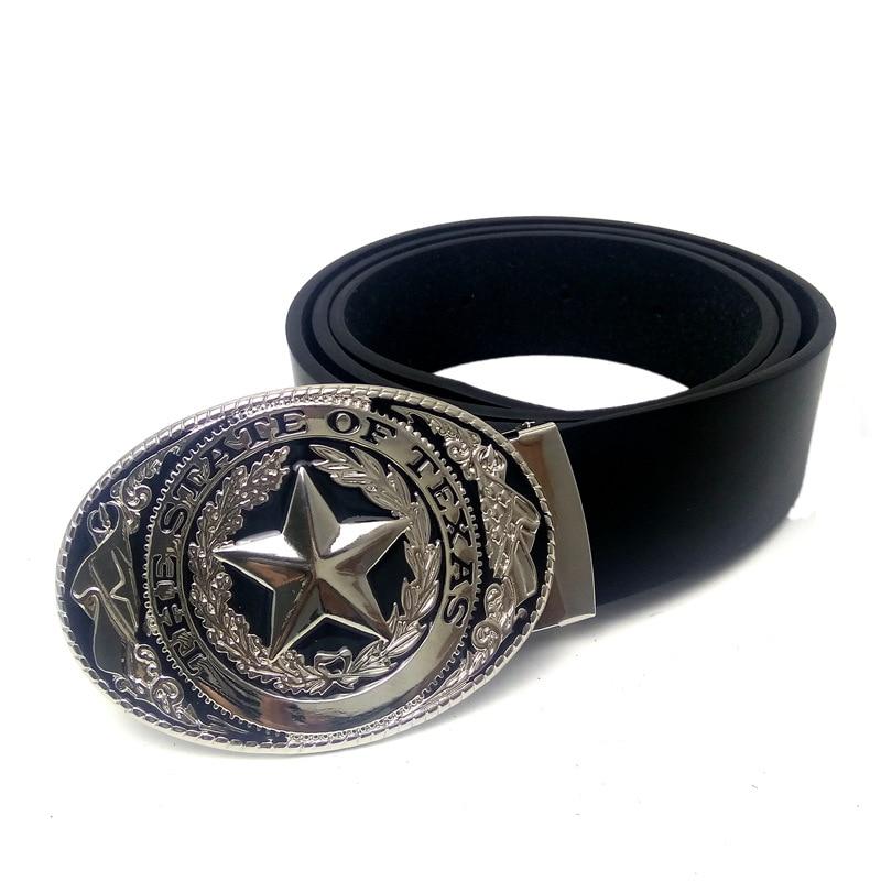 Mens fashion belt Western cowboy belt With State of Texas flag logo Big buckle metal Black