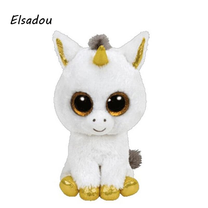 Elsadou Ty Beanie Boos Stuffed Plush Animals White Unicorn Doll font b Toys b font For